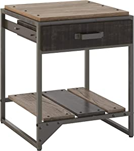 Bush Furniture Refinery End Table with Drawer, Rustic Gray