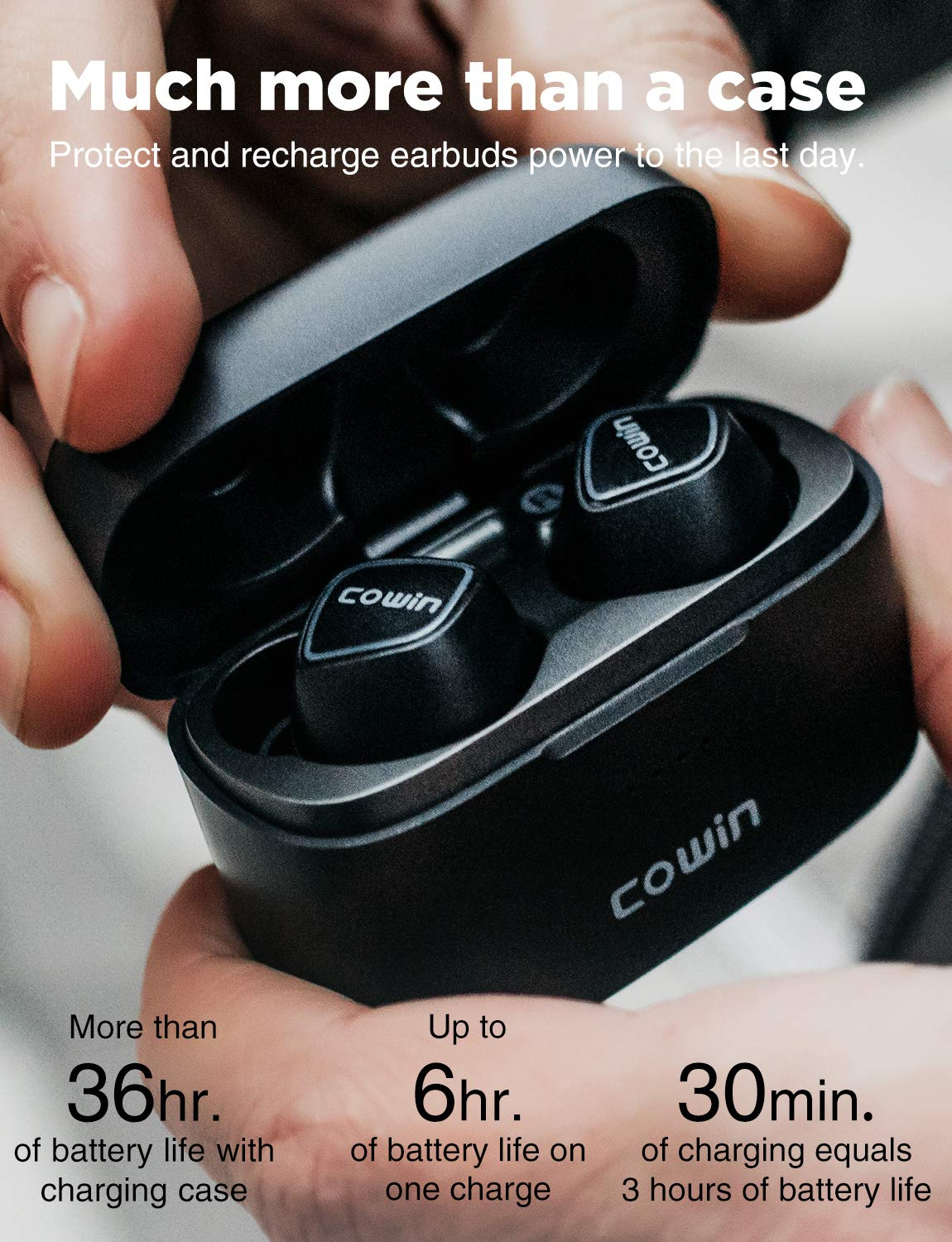 COWIN KY02 Wireless Earbuds True Wireless Earbuds Wireless Sport Earphones Bluetooth 5.0 Headphones Built-in Mic Stereo Calls Extra Bass Touch Control 35H for Workout Charging case Included – Black