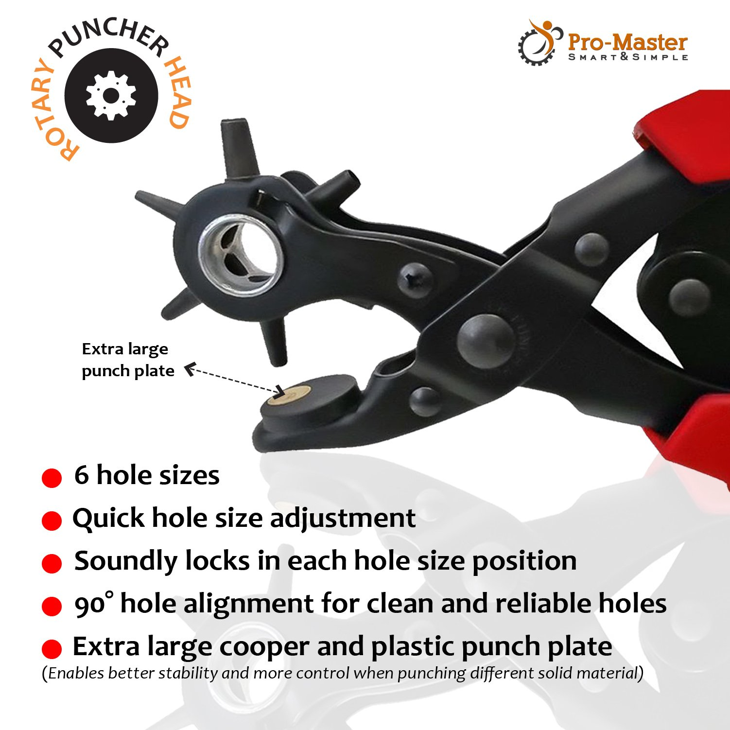Best Leather Hole Punch Set for Belts, Watch Bands, Straps, Dog Collars, Saddles, Shoes, Fabric, DIY Home or Craft Projects. Super Heavy Duty Rotary Puncher, Multi Hole Sizes Maker Tool, 3 Yr Warranty by ProMaster (Image #4)