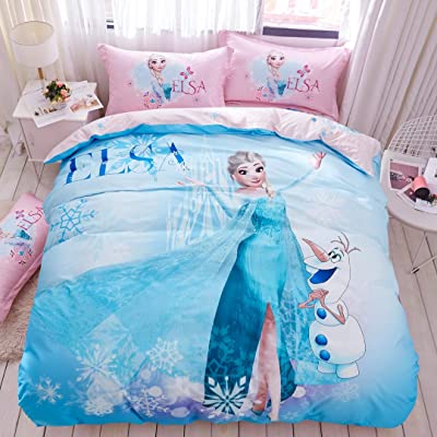 Casa 100% Cotton Kids Bedding Set Girls Frozen Elsa Princesses Blue Duvet Cover and Pillow Cases and Fitted Sheet,4 Pieces,Queen: Home & Kitchen