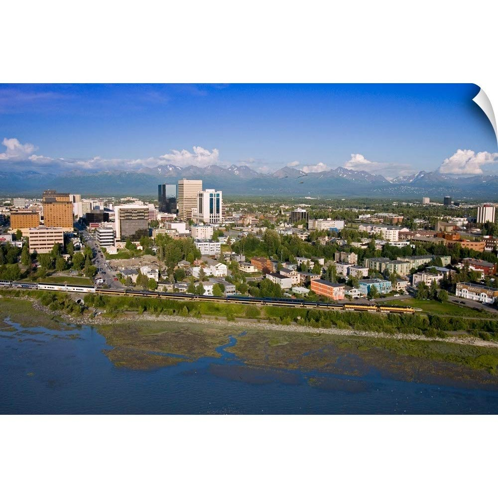 "CANVAS ON DEMAND Wall Peel Wall Art Print Entitled Aerial of Downtown Anchorage with Chugach MTNS in Distance, Southcentral Alaska Summer 30""x20"""