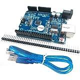 HiLetgo® UNO R3 ATmega328P CH340 Development Board Compatible Arduino UNO R3 Arduino IDE Develope Kit Microcontroller with USB Cable Straight Pin Header 2.54mm Pitch Robot Parts