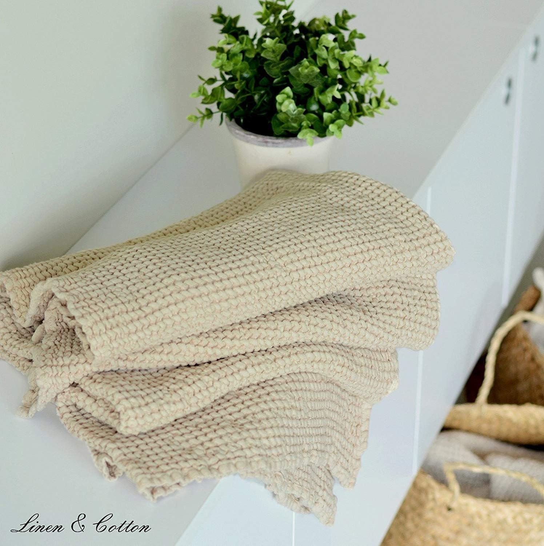 50 x 70cm Lilla Linen /& Cotton Asciugamano da Bagno//Doccia Ezra