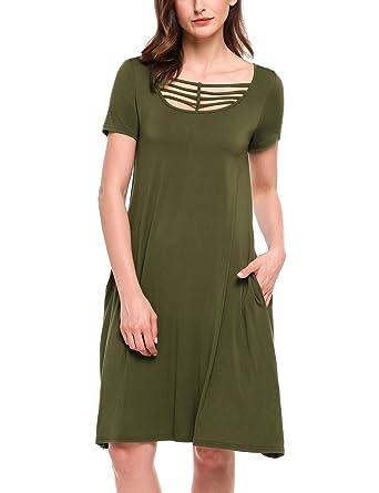 8bedd34314bb Meaneor Women s Casual Plain Short Sleeve Pocket Simple Loose T-shirt Dress