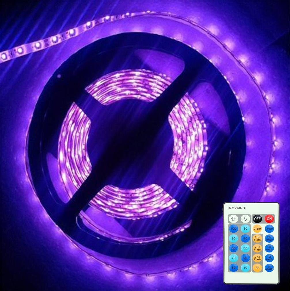 3528 UV BlackLights LED Lights Strip with Remote Control Kit, AMARS 16.4Ft/5M 395nm-405nm UV Fixtures for 3D Print, UV Body Paints Fluorescence, DJ, Disinfection (Power Adapter Included)