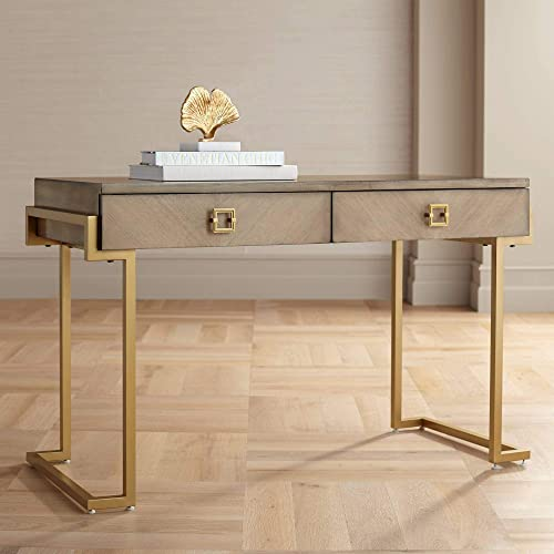 Wheaton 49 1/2″ Wide Gold and Wood Glam Modern Writing Desk