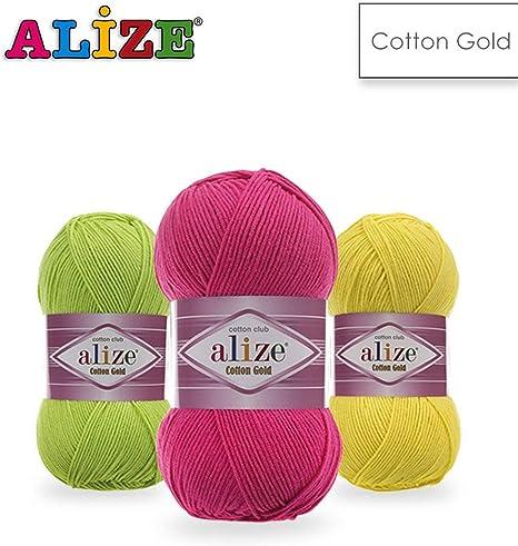 4 bolas de algodón Alize, hilo de ganchillo, hilo para tejer, hilo de bebé, hilo de algodón acrílico: Amazon.es: Juguetes y juegos