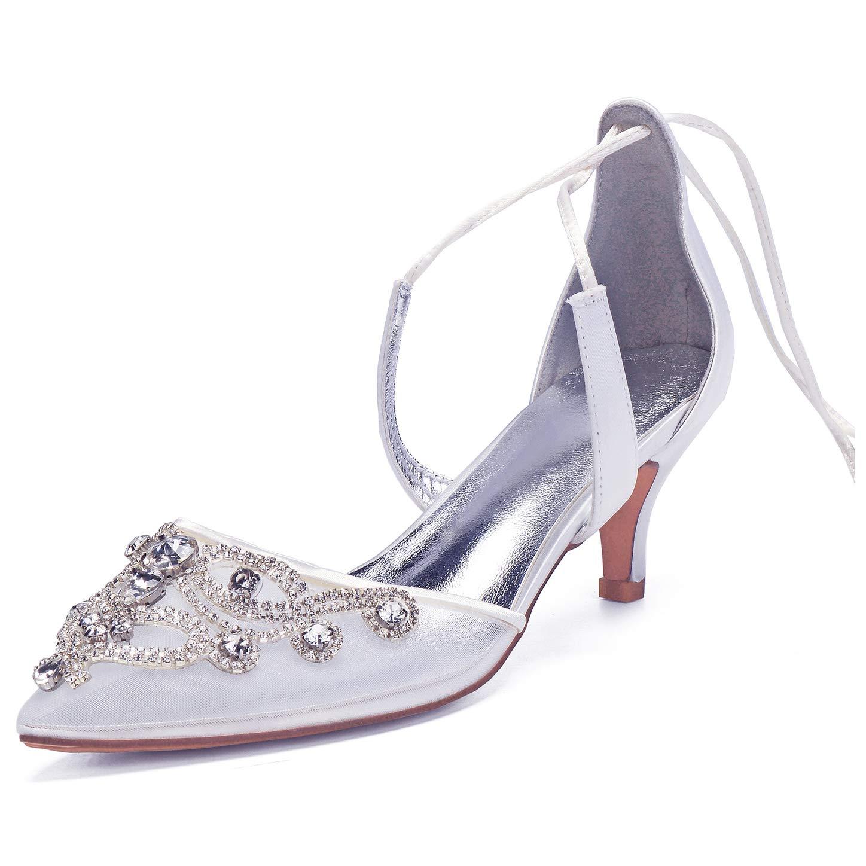 blancoo SERAPH 99634A-11 mujer tacones bajos sandalias tobillo correa cordones punta punta de Satén zapatos de novia nupcial