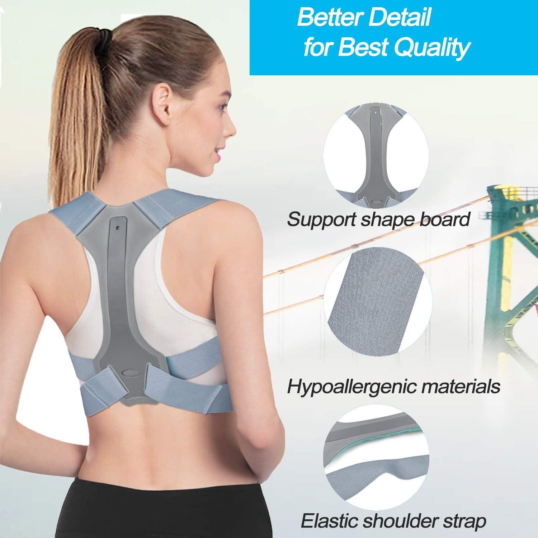 Grey,S Adjustable Back Straightener Posture Corrector Under Clothes Breathable Upper Posture Back Brace Trainer for Back Neck Pain Shoulder Clavicle Support Posture Corrector for Women Men