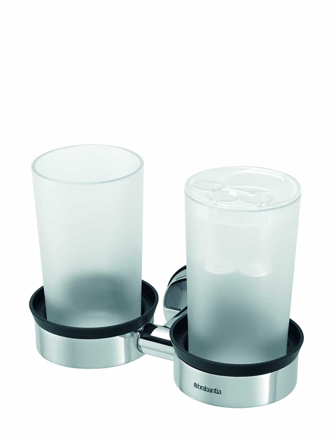 Brabantia Double Cup and Tootbrush Holder - Brilliant Steel 427527