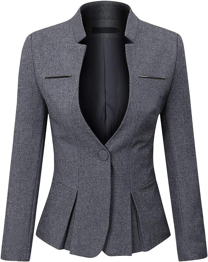 YYNUDA Damen Blazer Basic Slim Fit Zwei Knopf Anzugjacke Elegant f/ür Business Office