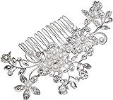 Women Bridal Wedding Flower Diamante Crystal Rhinestones Pearls Hair Clip Comb