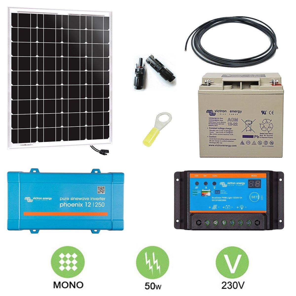 Kit solar 50W autonome Mono + Konverter 230V