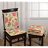 Swayam Printed Chair Pads Standard Size with Loops (Set of 6)