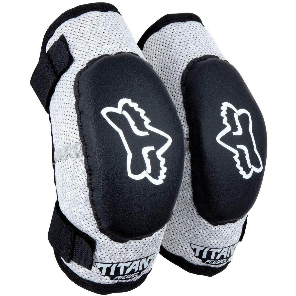 Black//Silver//PeeWee Fox Racing PeeWee Titan Adult Elbow Guard MotoX Motorcycle Body Armor ages 4-7