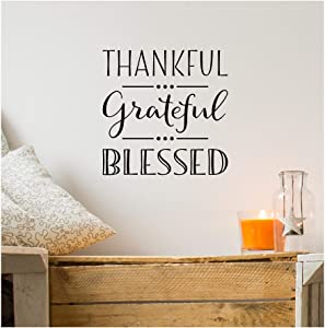 """Thankful Grateful Blessed Vinyl Lettering Wall Decal (10"""" x 10"""", Black)"""