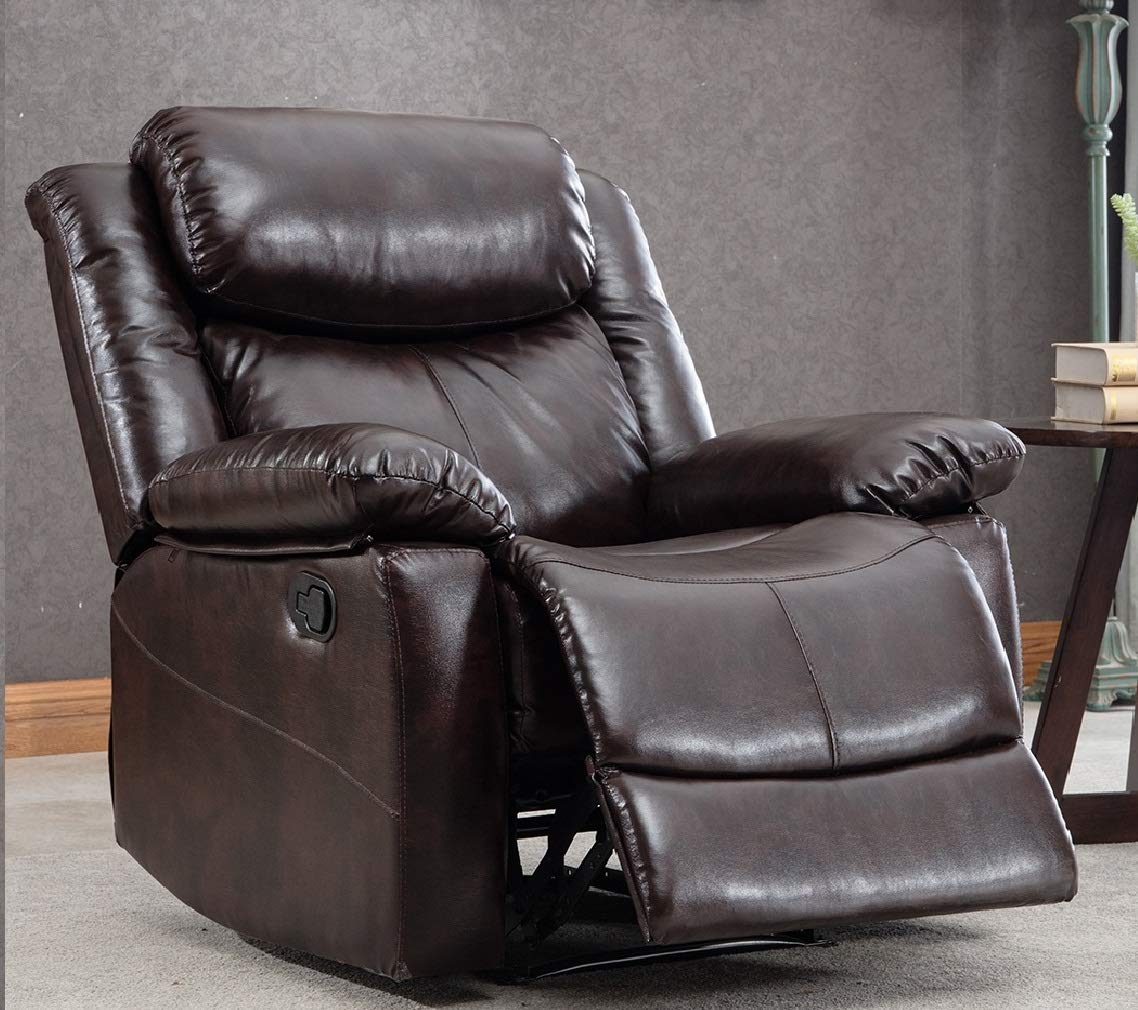 Thick Padded Recliner Chair PU Leather Living Room Chair Single Seat Lounge  Sofa Reclining (Brown)