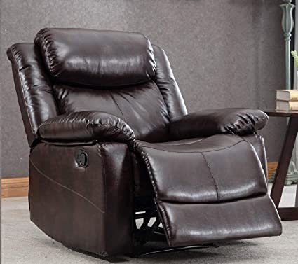 Cool Thick Padded Recliner Chair Pu Leather Living Room Chair Single Seat Lounge Sofa Reclining Brown Ncnpc Chair Design For Home Ncnpcorg