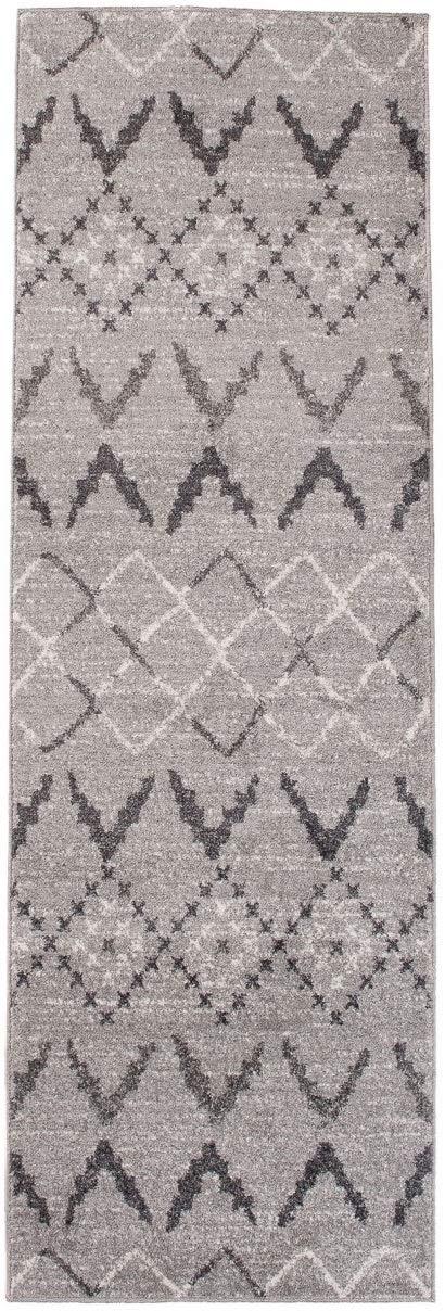 Tapiso LÄUFER MODERN BRÜCKE Flur Teppich - Muster KARO GRAU - Calm Kollektion 70 x 300 cm