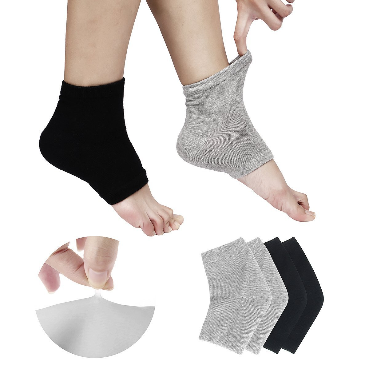 EXPER Moisturizing Gel Heel Socks for Women Men's Dry Cracked Rough Feet Skin Day Night Free Size Open Toe Humectant Moisturizer Heels sleeve Pack of 2 Pairs (Black + Grey)