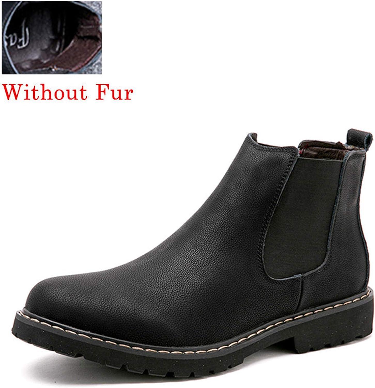 Men Winter Shoes Black Split Leather