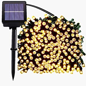 Dedeo Waterproof Solar Christmas Lights 200 LED 72FT for Indoor Gardens Homes Wedding Holiday Party Holiday Decoration 8-in-1 Mode(Warm White