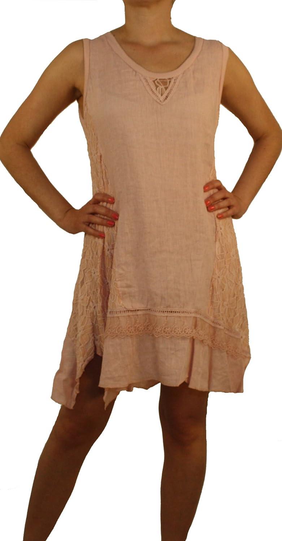 8091 Damen Leinen Kleid, 100% Leinen, beige, braun, schwarz, blau, hellblau, grün, rosa, lachsrot, weiß, Gr. M, L, XL, XXL.