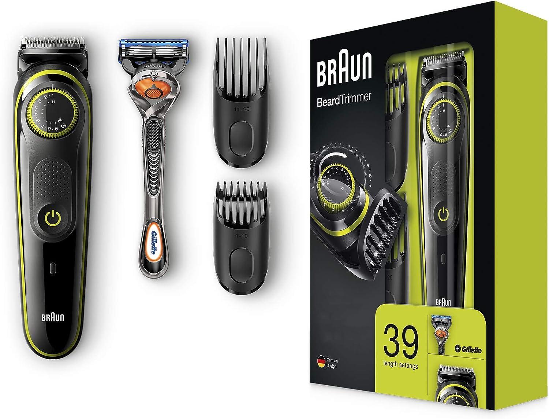 Braun BT3041 - Máquina Cortar Pelo, Recortadora de Barba y Cortapelos Cuchillas Afiladas de Larga Duración, Maquinilla Gillette Fusion5 ProGlide con Tecnología FlexBall de Regalo, Negro/Verde