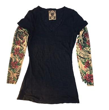 559c86097 Wild Rose SHEISHE RED Rose Ladies Tattoo Sleeve Burnout Shirt, Black ...