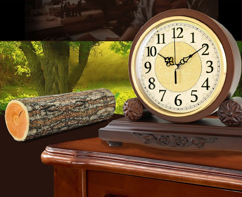 HAOFAY Solid Wood Battery Operation, No Ticking, Shelf Clock Chronograph Clock 9'' × 10.2'' × 3.5'' , Maroon ( Color : Not timekeeping ) by CLOCK (Image #3)