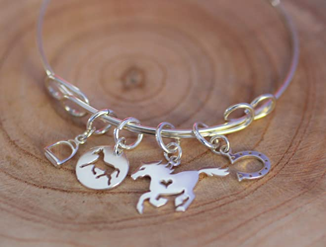 69035f531aebd Amazon.com: Horse Charm- Bangle Bracelet - Sterling Silver Charm ...