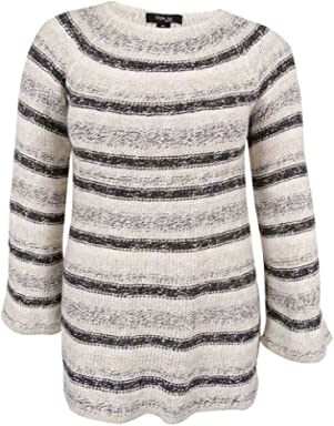 Style & Co. Womens Plus Metallic Striped Pullover Sweater