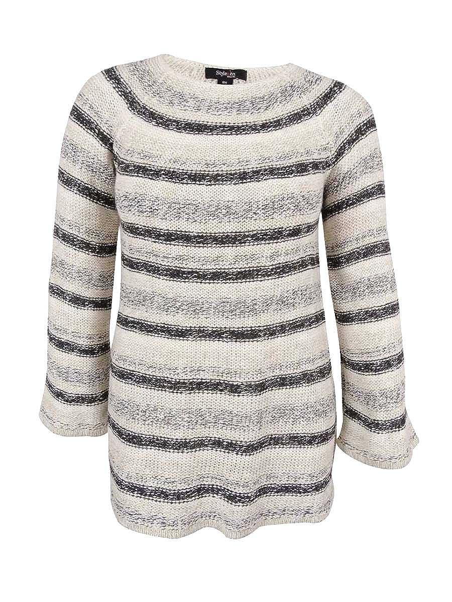 Style \u0026 Co. Womens Plus Metallic Striped Pullover Sweater Ivory 2X