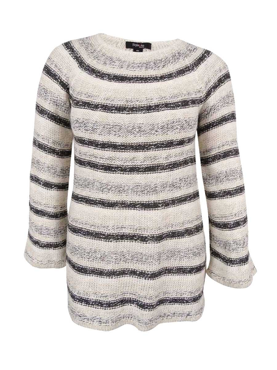 Style & Co. Womens Plus Metallic Striped Pullover Sweater Ivory 2X