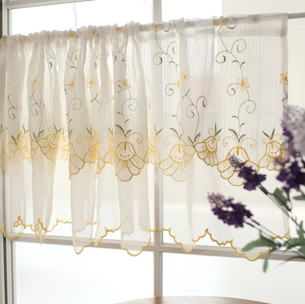 Sweet Yellow Cafe Curtain Two-Layer Embroidery Floral Window Valance PANDA SUPERSTORE PS-HOM3736171-YAN01778-BK