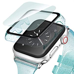 Ritastar Bumper for Apple Watch Case with Tempered Glass Screen Protector 38mm Series 3 2 1,Full Coverage Hard PC Protective Cover Built-in Bling Glitters Anti-Scratch,Bubble-Free,Easy Installation