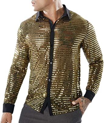 security Camisa Larga con Lentejuelas Brillantes para Hombre de Safety 70s: Amazon.es: Ropa y accesorios
