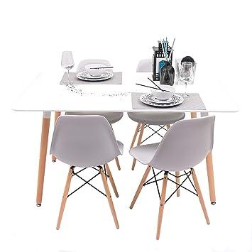 Conjunto de Comedor Tower con Mesa lacada Blanca y 4 sillas, de diseño nórdico (140x90, Gris Claro)