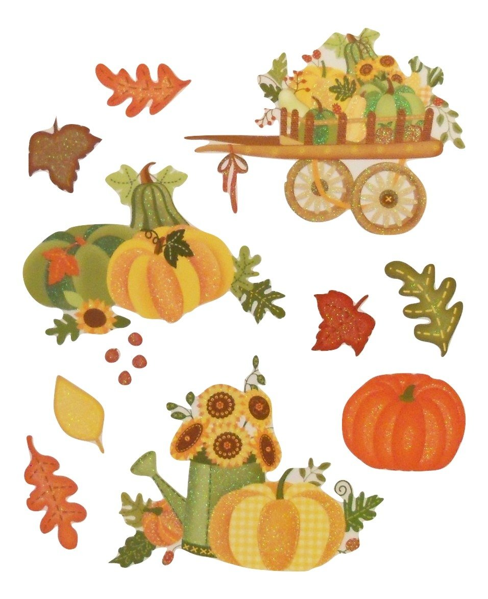 Greenbrier Fall Harvest Glitter Window Clings ~ Country Style (10 Clings, 1 Sheet)