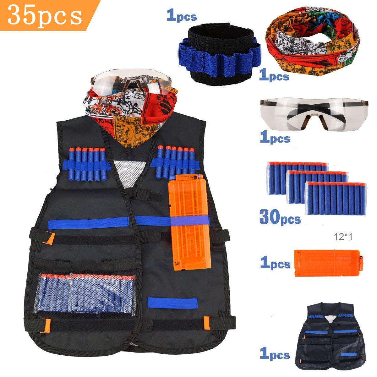 Airtana Tactical Vest Kit for Nerf Guns N-Strike Elite Series with 30 Refill Darts, Reload Clips,Mask,Protective Glasses,Wrist Band