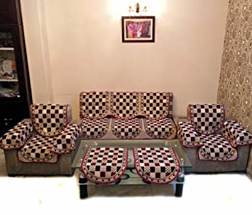 Buy GOLD CHECK MAROON POLYCOTTON SOFA SLIPCOVER SET WITH 6 ARMS