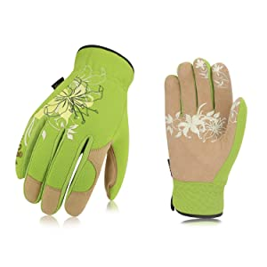 Vgo Ladies' High Breathability Synthetic Leather Gardening Gloves(1Pair, Size L,Green,SL7443)