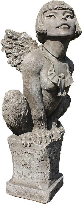 Escultura de esfinge en zócalo de peluche en inglés antiguo de decoraciones de jardín de hierro fundido de piedra: Amazon.es: Hogar