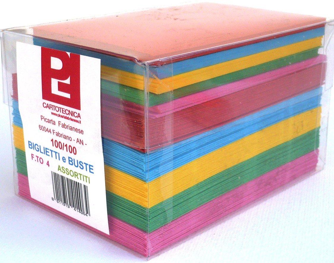 Cartoncini Colorati con Busta Colori Forti Assortiti 100 Pezzi Formato 9 (14 x 9 cm) Picarta Fabrianese