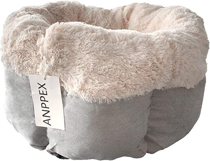 Anppex Pet Bed Cave Deep Dish Cuddler Self Warming Cat And Dog Bed Cushion For Joint Relief And Improved Sleep 42x42x25cm Grey Pet Supplies