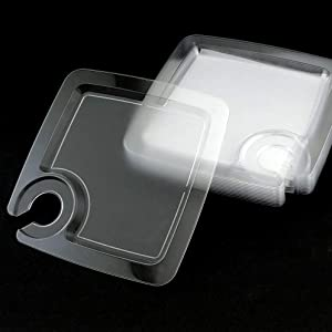 48 pieces plastic plate, 9 Inch Heavy Duty Clear Square Disposable Stemware Holder Dessert Plates