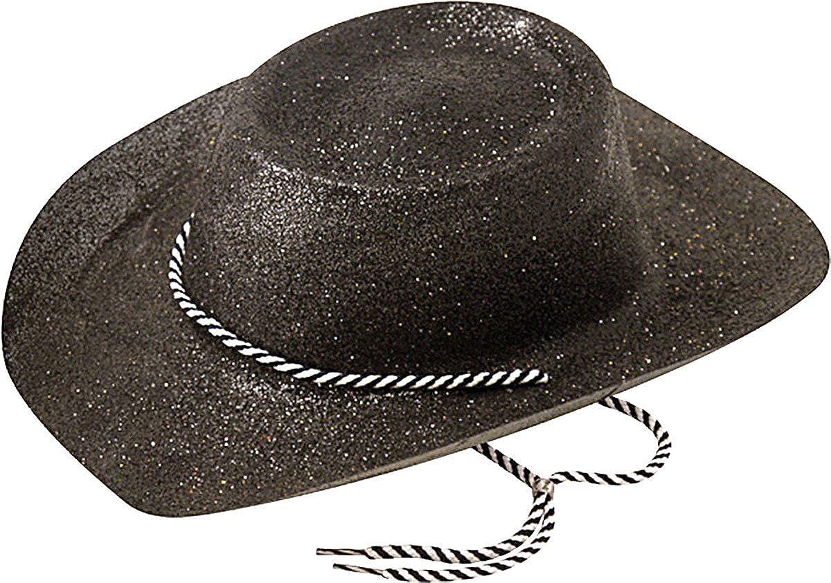 d59fa0b31b7ef Bristol Novelty Cowboy Hat Glitter Black  Amazon.co.uk  Clothing