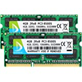 DUOMEIQI 8GB Kit (2 X 4GB) 2RX8 PC3-8500 PC3-8500S DDR3 1066MHz SODIMM CL7 204 Pin 1.5v Non-ECC Unbuffered Notebook Memory La