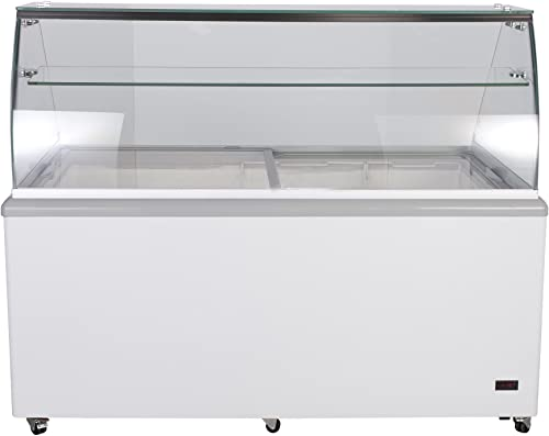 Chef's Exclusive Commercial 12 Flavor Frost Free Ice Cream Dipping Cabinet Case Sub Zero Freezer Glass Canopy 20 Cubic Feet