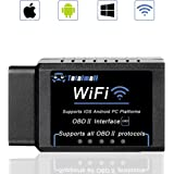 Totalmall Car WiFi OBD II Reader Scanner, Wireless OBD 2 Car Code Reader Scan Tool,Car Diagnostic Tool Scanner Adapter Check Vehicle Engine for iOS Android & Windows Device[Upgraded Chip]